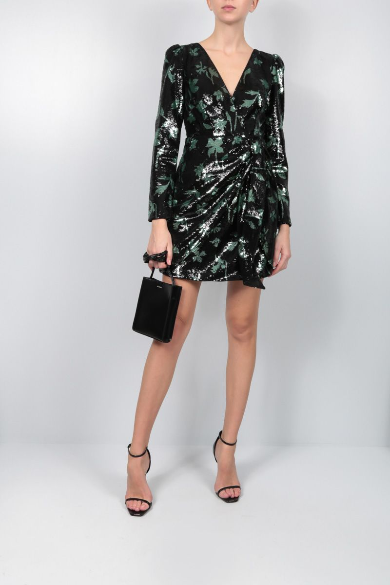 SELF PORTRAIT: Leaf motif sequinned minidress Color Black_2