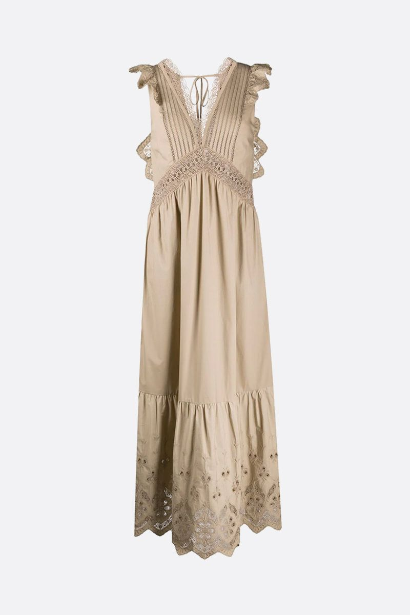 SELF PORTRAIT: broderie anglaise insert-detailed cotton long dress Color Neutral_1