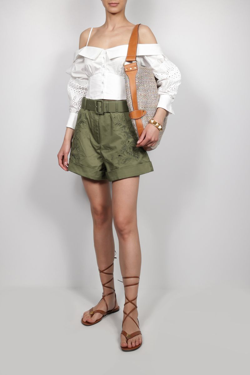 SELF PORTRAIT: floral embroidered cotton shorts Color Green_2