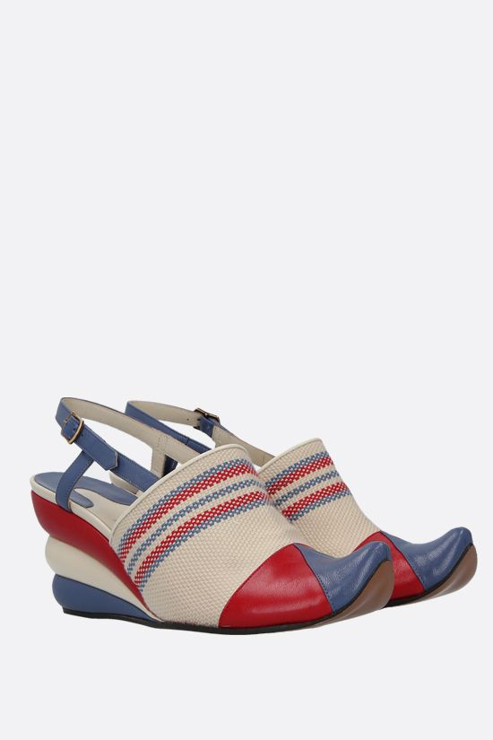 FERRAGAMO'S CREATIONS: Formia smooth leather and canvas slingbacks Color Multicolor_2