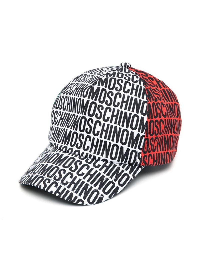 MOSCHINO KIDS: logo print cotton baseball cap Color Multicolor_1