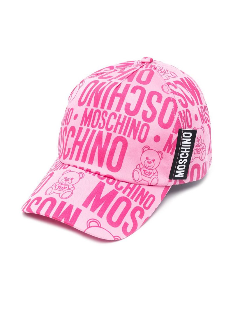 MOSCHINO KIDS: logo print cotton baseball cap Color Purple_1