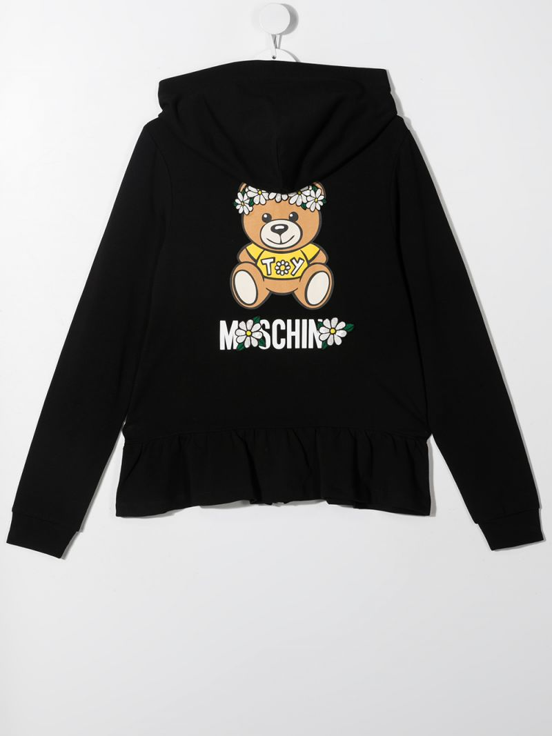 MOSCHINO KIDS: Daisy Teddy Bear stretch cotton full-zip hoodie Color Black_2