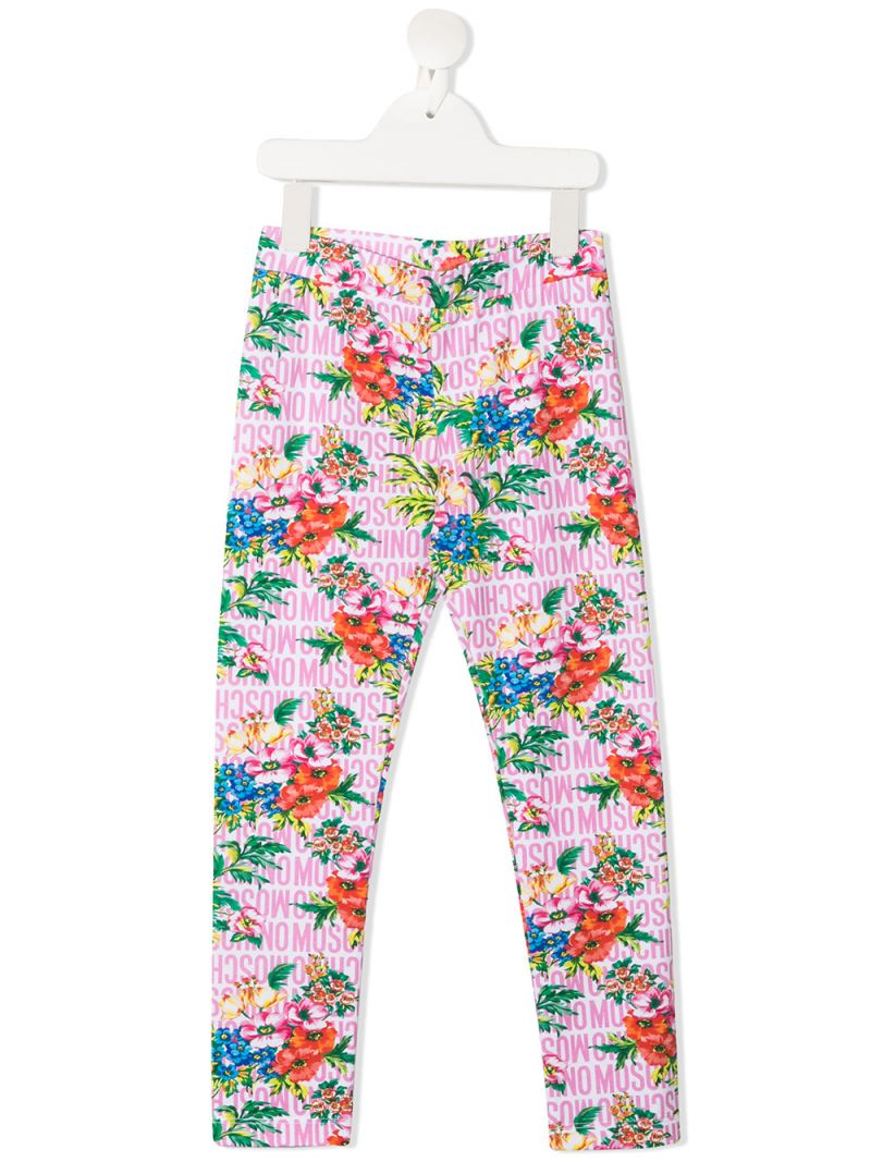 MOSCHINO KIDS: floral print stretch cotton leggings Color Multicolor_1