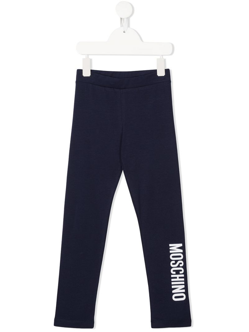 MOSCHINO KIDS: logo print stretch cotton leggings Color Blue_1