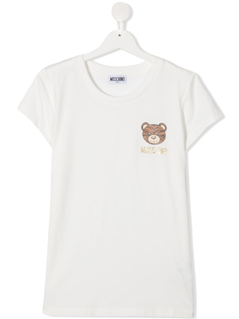 MOSCHINO KIDS: Tiger Teddy Bear print stretch cotton t-shirt Color Grey_1
