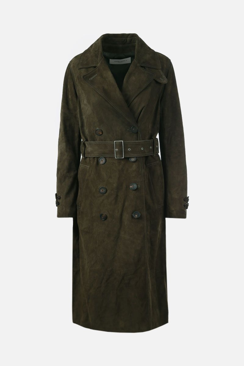 GOLDEN GOOSE DELUXE BRAND: Abigail soft suede double-breasted trench coat Color Green_1