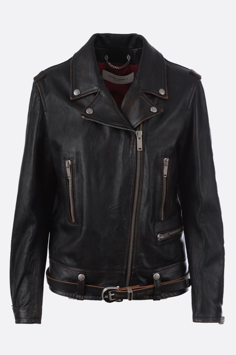 GOLDEN GOOSE DELUXE BRAND: Andrea vintage-effect nappa biker jacket Color Black_1