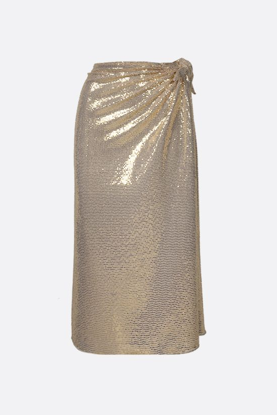OSEREE: Disco sequinned jersey long skirt Color Gold_1