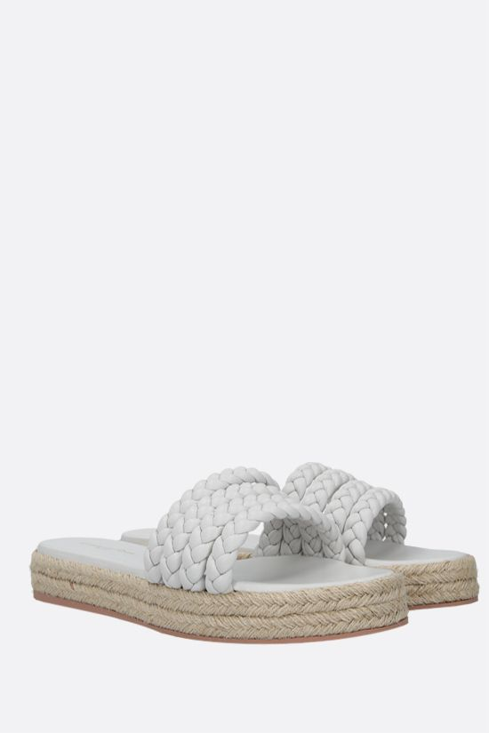 GIANVITO ROSSI: Marbella woven nappa flatform sandals Color White_2