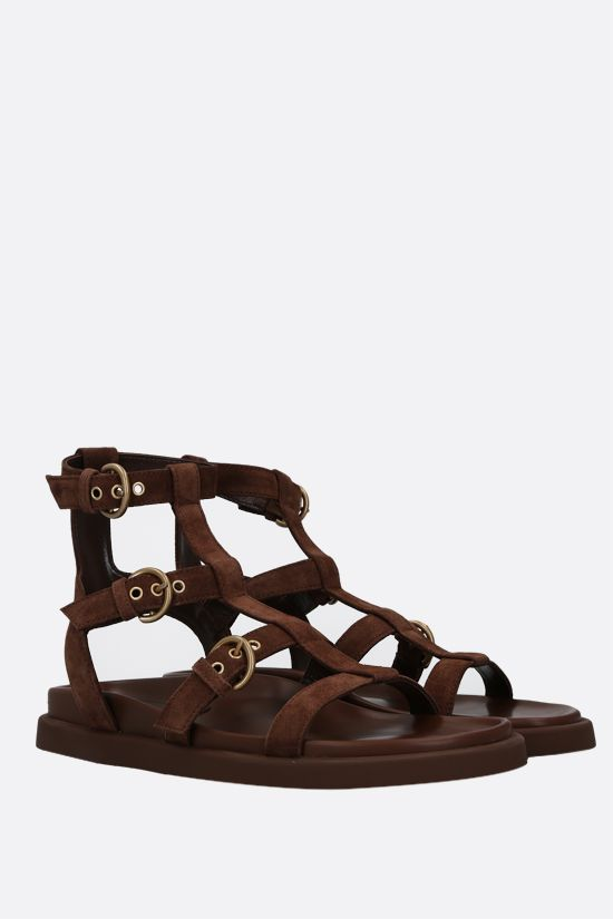 GIANVITO ROSSI: Arena suede flat sandals Color Brown_2