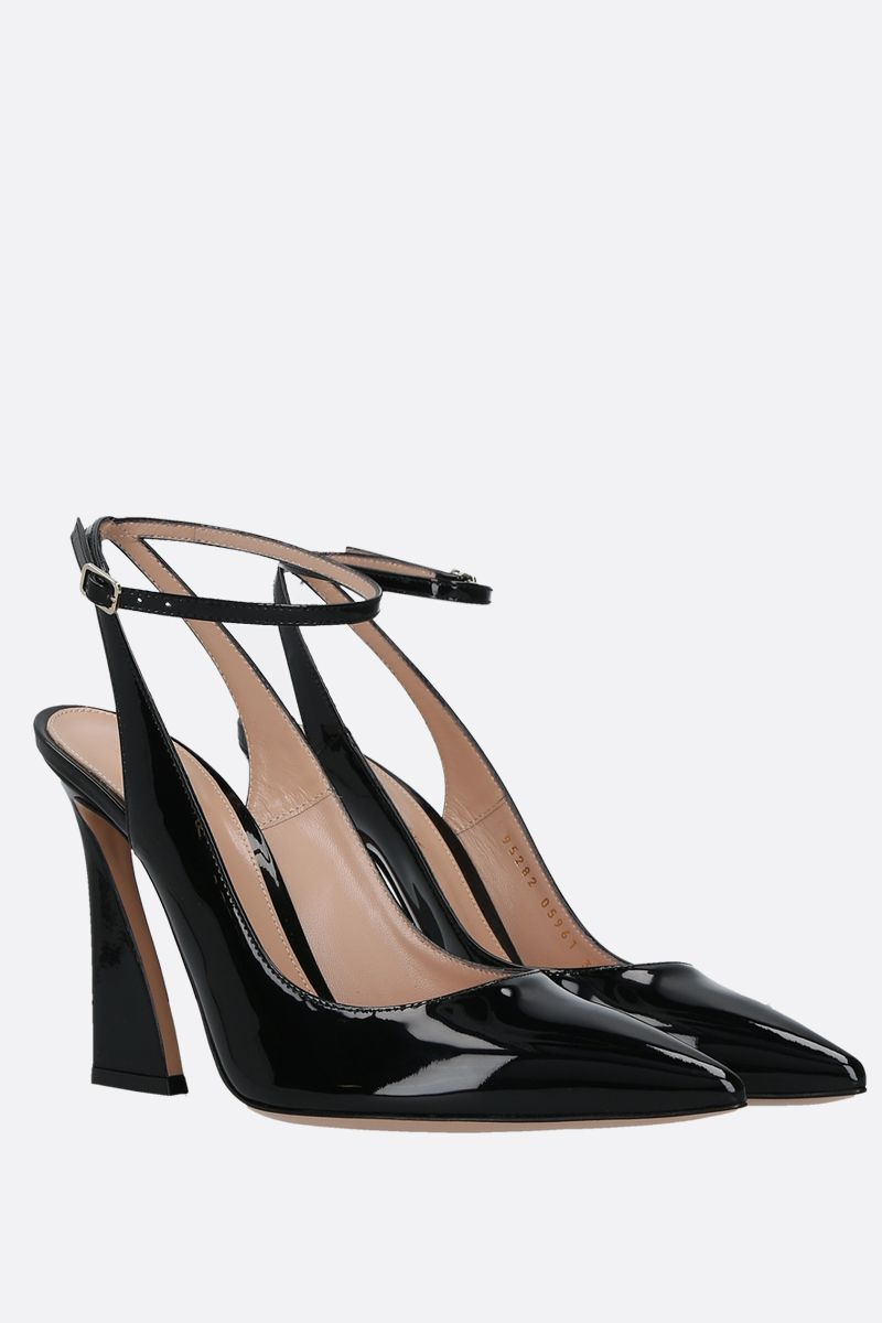 GIANVITO ROSSI: Aura patent leather slingbacks Color Black_2