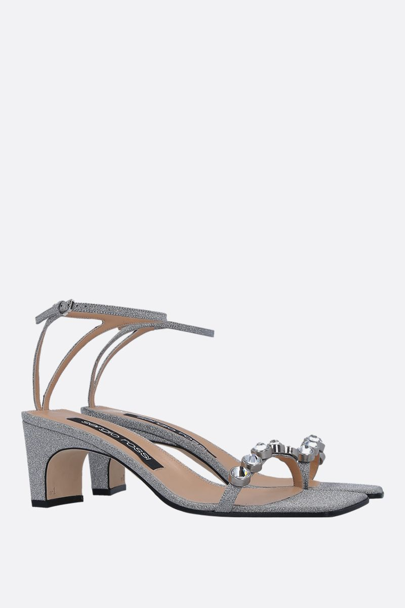 SERGIO ROSSI: SR1 glitter fabric sandals Color Silver_2