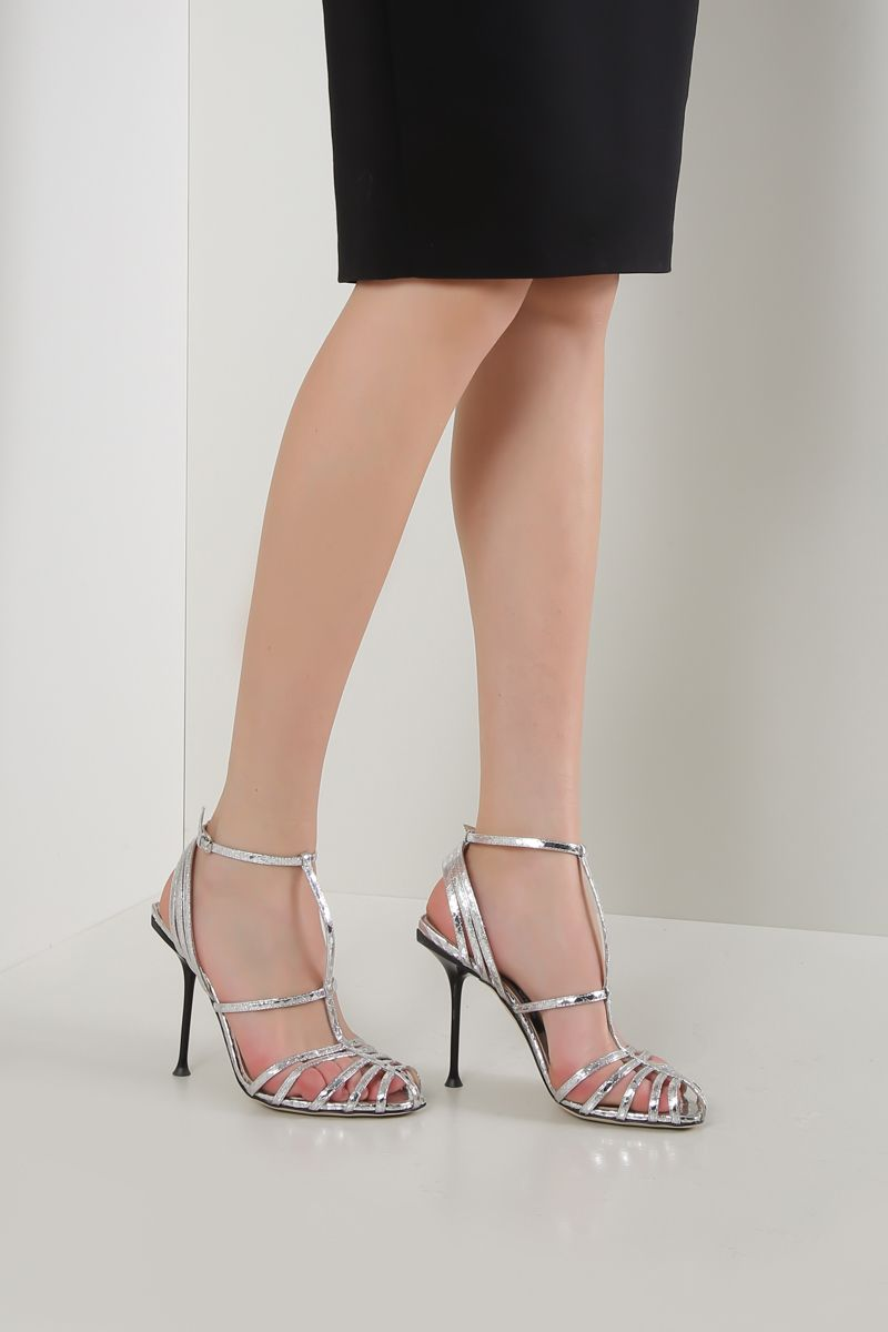 SERGIO ROSSI: sr Milano sandals in crinkle leather Color Silver_2
