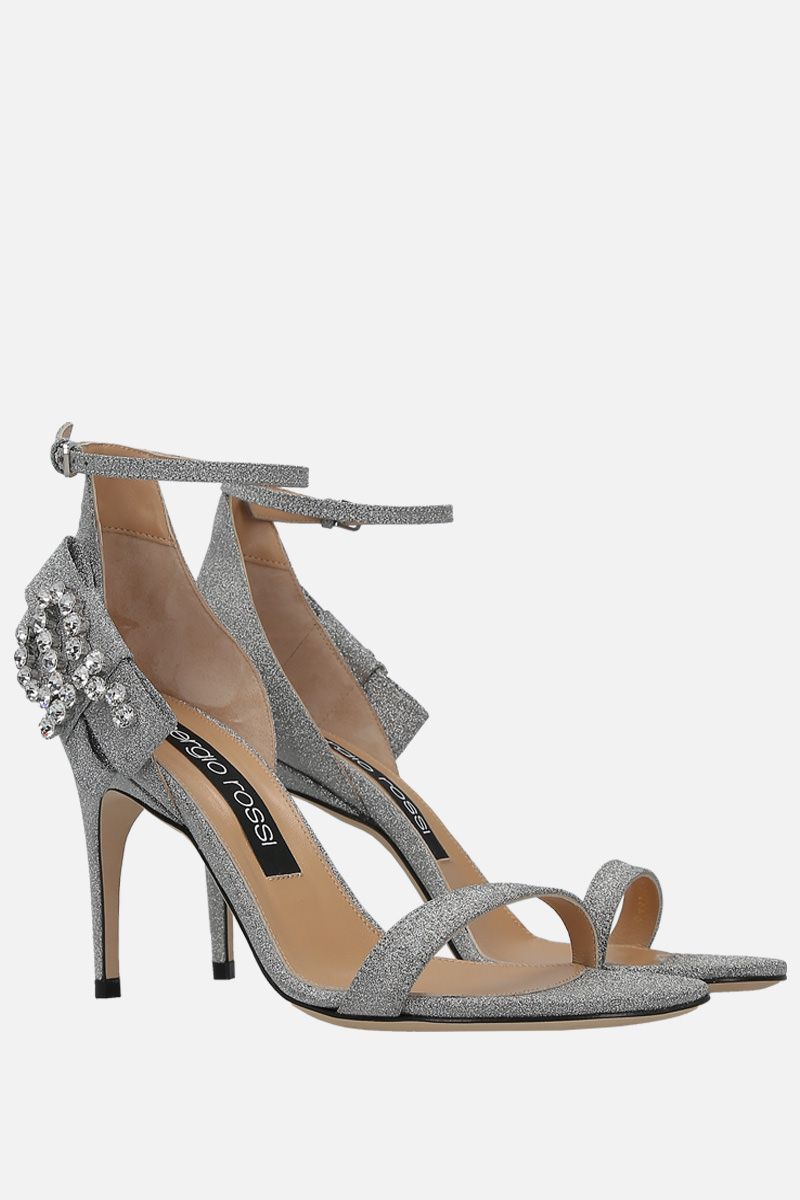 SERGIO ROSSI: sr Icona sandals in glitter fabric Color Silver_2