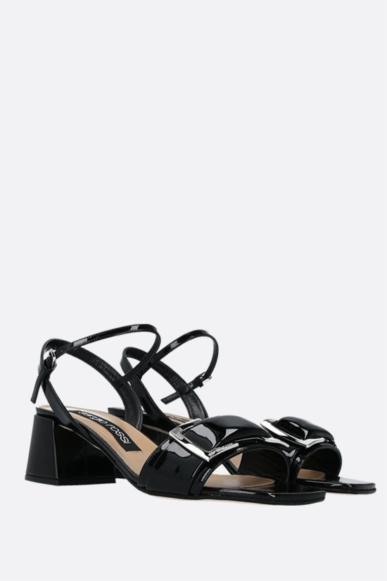 SERGIO ROSSI: sr Prince patent leather sandals Color Black_2