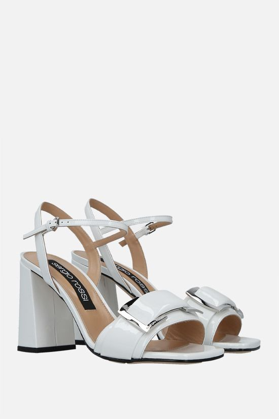 SERGIO ROSSI: sr Prince patent leather sandals Color White_2