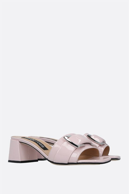 SERGIO ROSSI: sr Prince patent leather mule sandals Color Pink_2