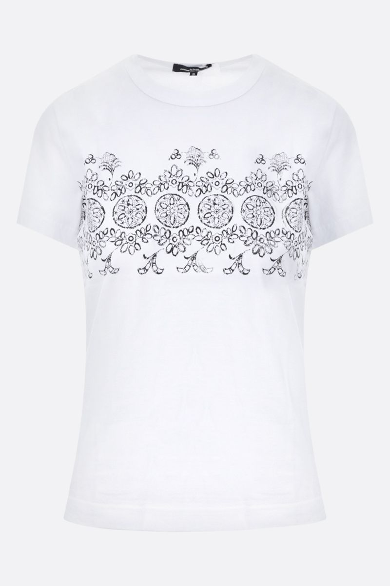 COMME des GARCONS TRICOT: t-shirt in cotone stampa floreale Colore White_1