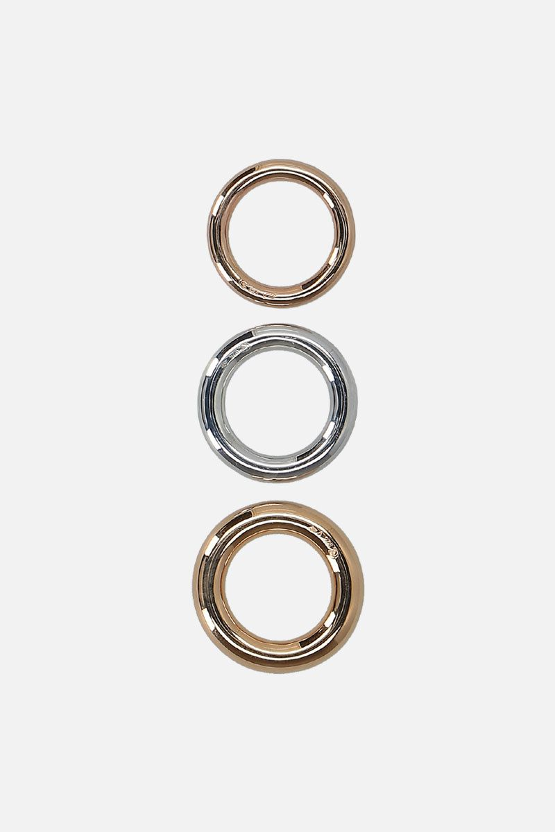 CHARLOTTE CHESNAIS: Brahama silver rings (set of 3) Color Yellow_3