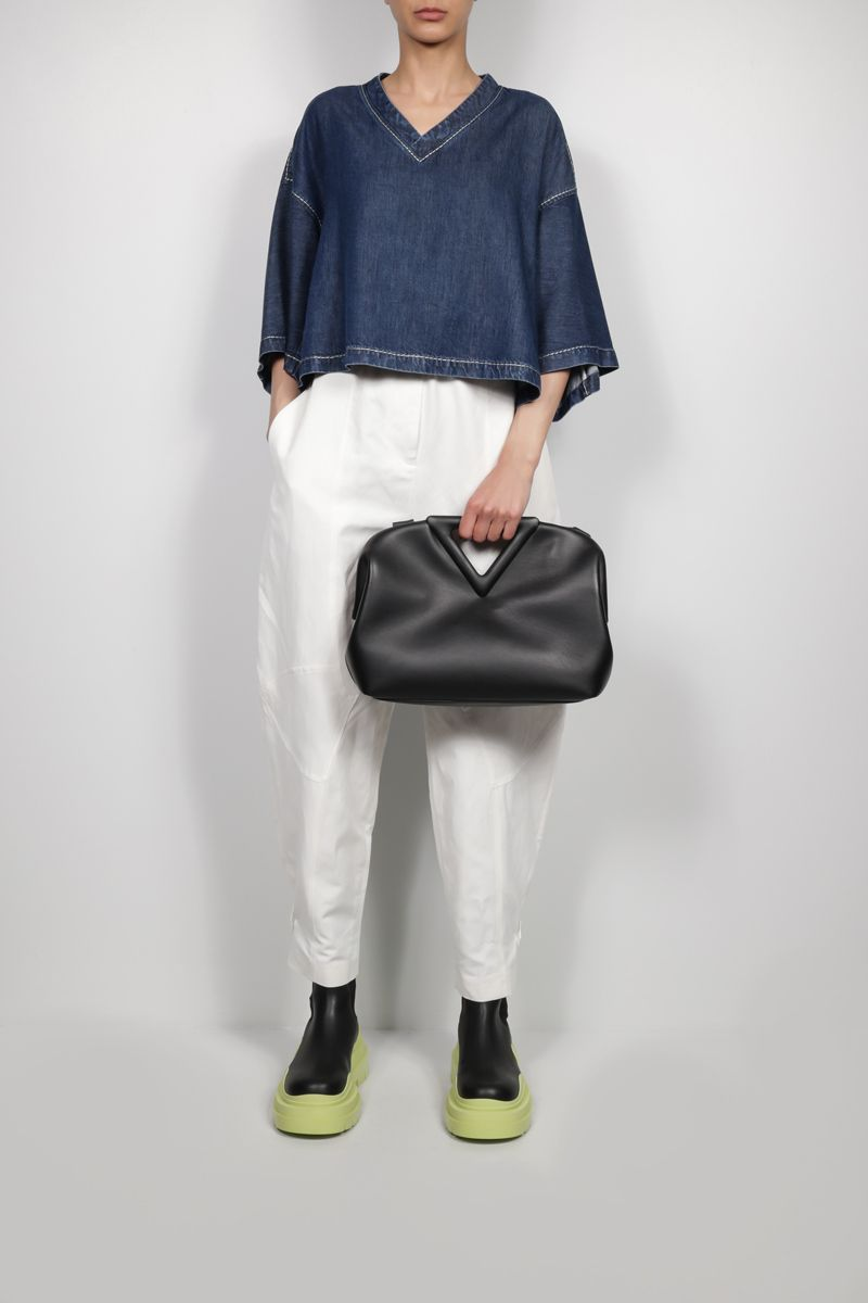 BOTTEGA VENETA: lightweight denim short-sleeved cropped blouse Color Blue_2