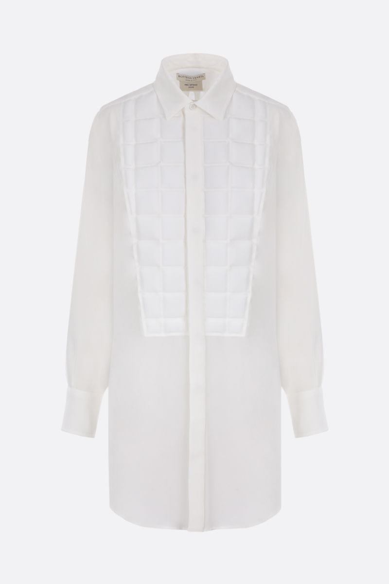 BOTTEGA VENETA: padded quilting-detailed crepe de chine shirt Color White_1