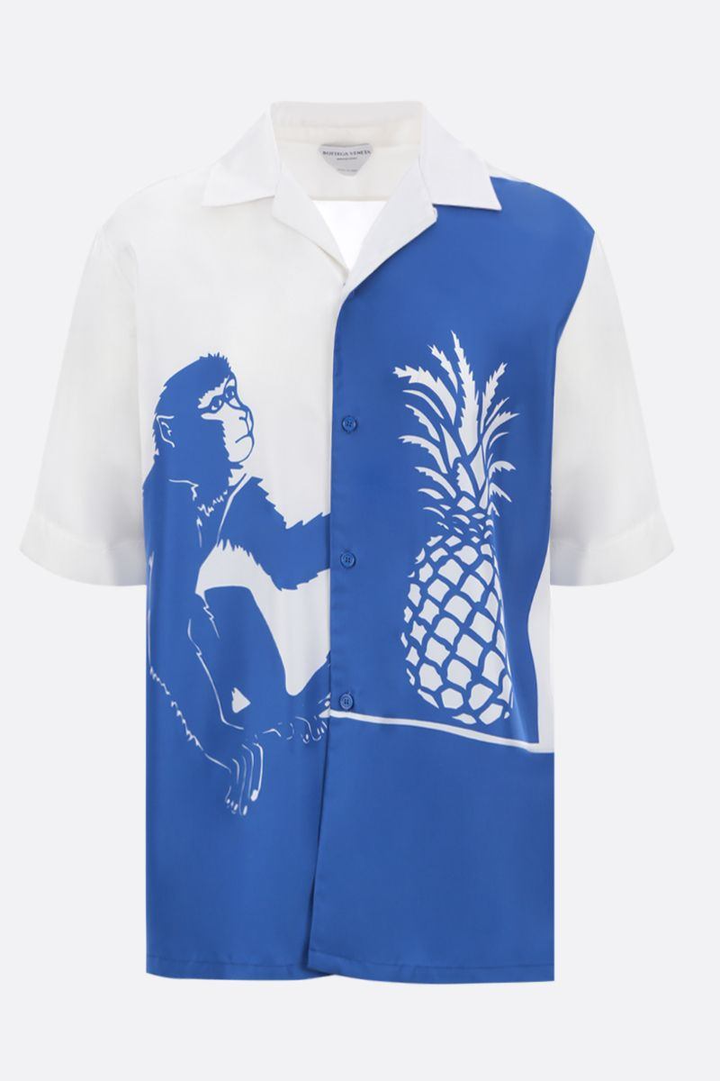 BOTTEGA VENETA: monkey and pineapple print habutai bowling shirt_1