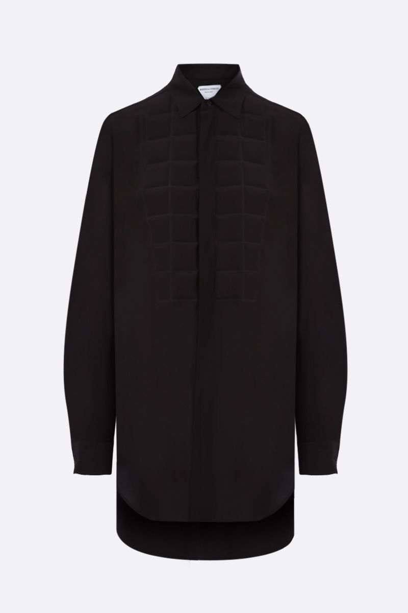 BOTTEGA VENETA: quilted panel silk shirt Color Brown_1