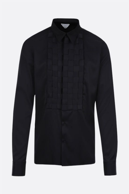 BOTTEGA VENETA: bib-detailed stretch satin shirt Color Black_1