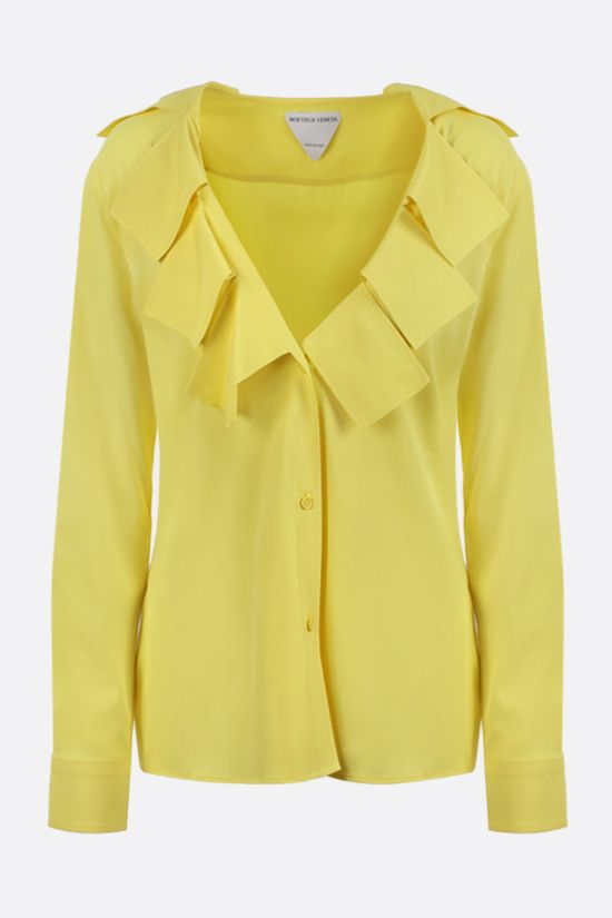 BOTTEGA VENETA: fringe-detailed stretch viscose shirt Color Yellow_1