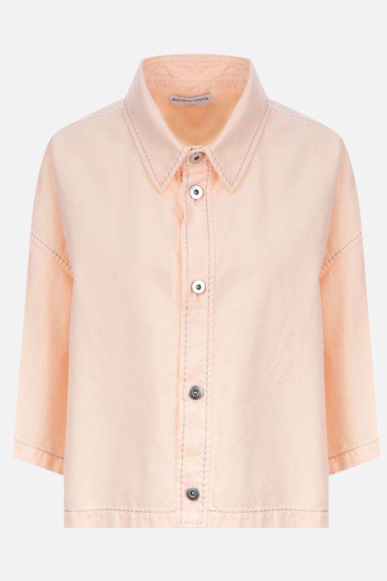 BOTTEGA VENETA: twill cropped short-sleeved shirt Color Neutral_1