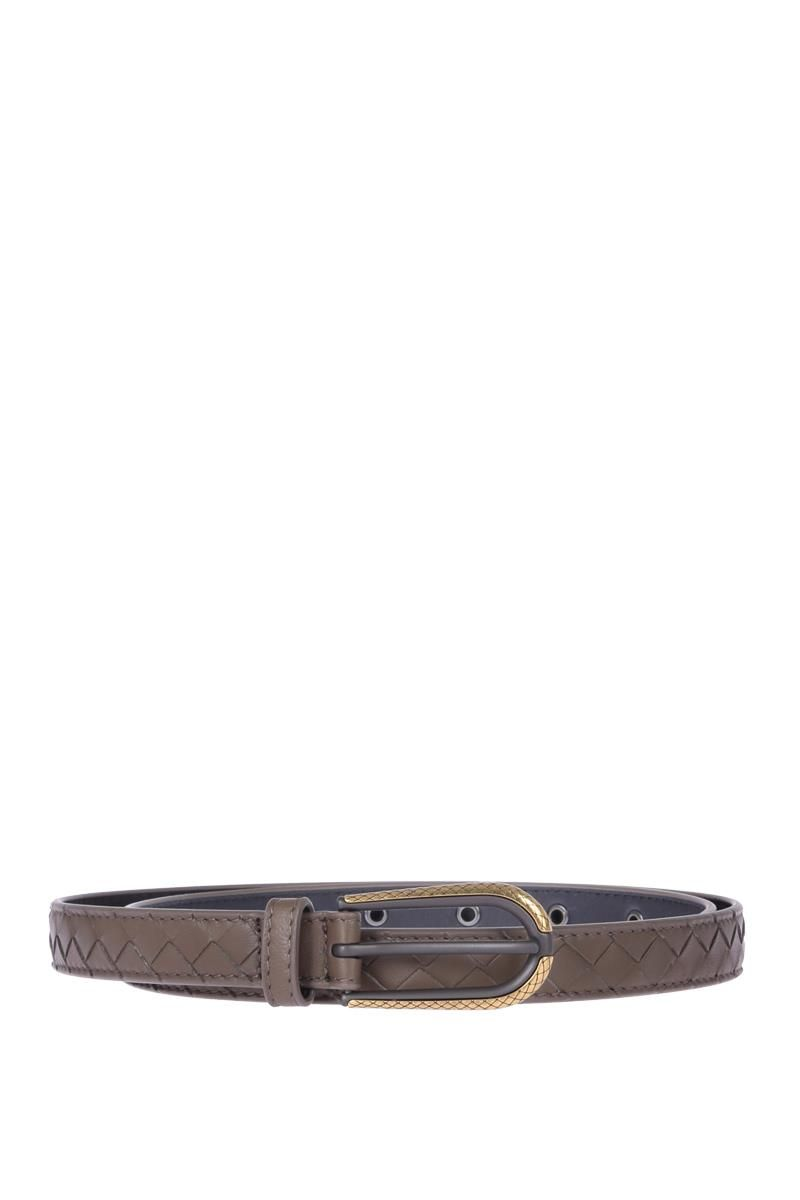 BOTTEGA VENETA: belt in Intrecciato Color Grey_1