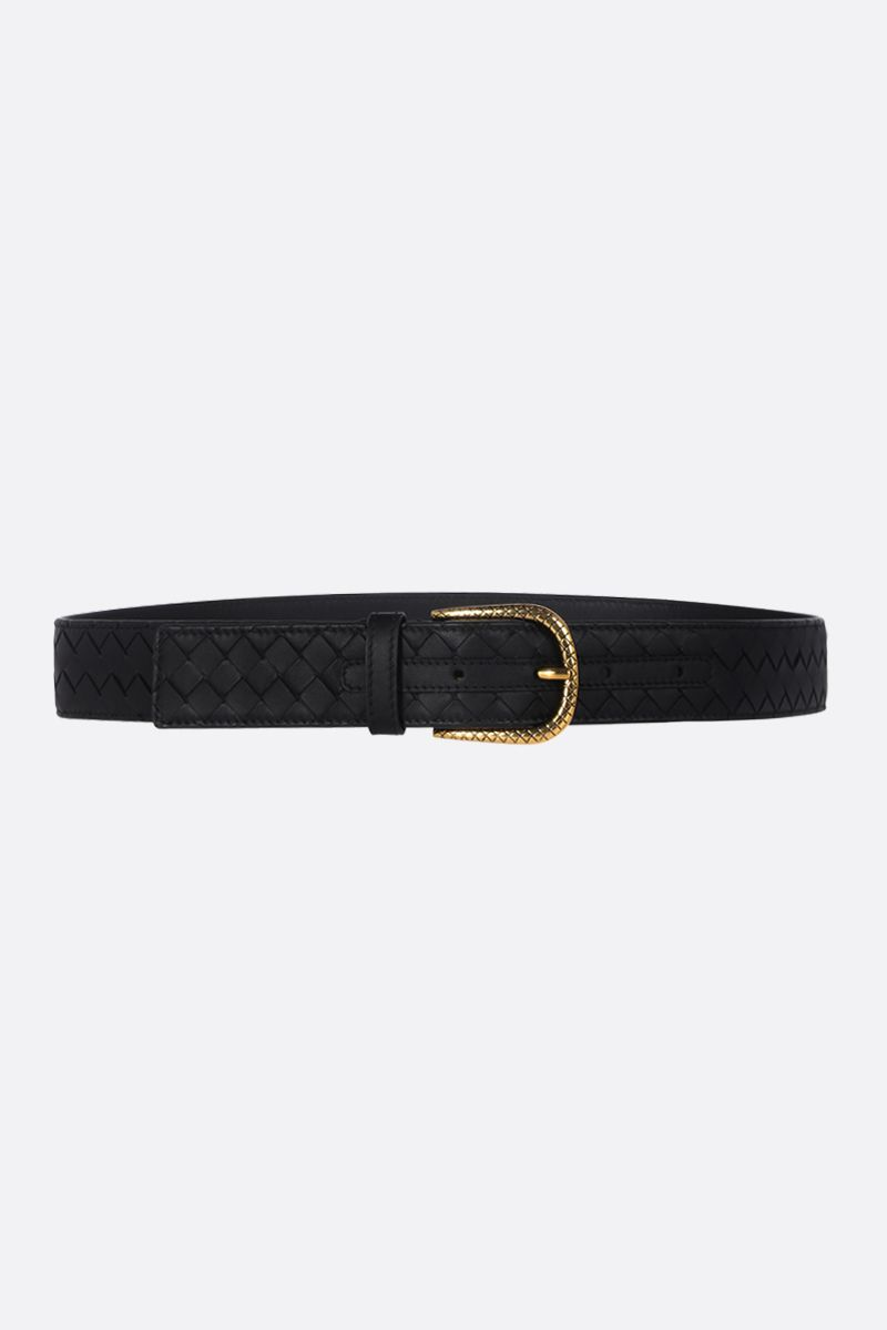 BOTTEGA VENETA: Intrecciato belt Color Black_1