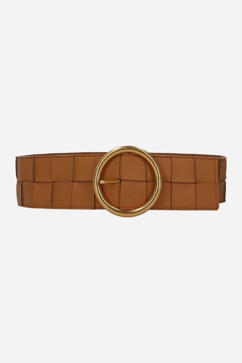 BOTTEGA VENETA: Maxi Intrecciato belt Color Brown_1