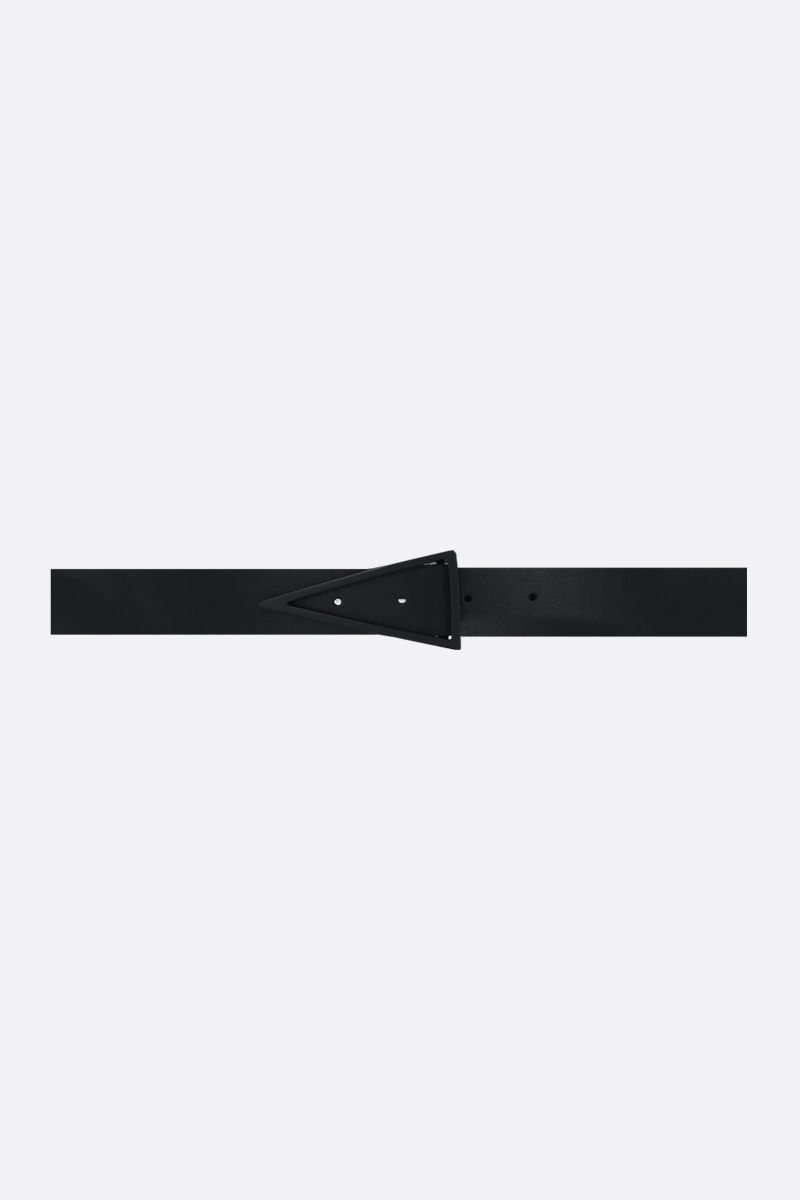BOTTEGA VENETA: triangle buckle-detailed smooth leather belt_1