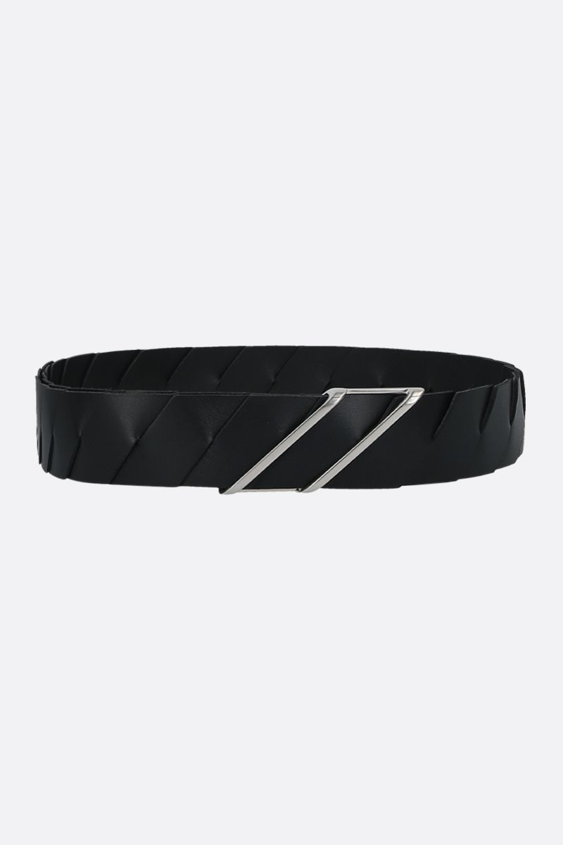 BOTTEGA VENETA: Intrecciato leather belt Color Black_1