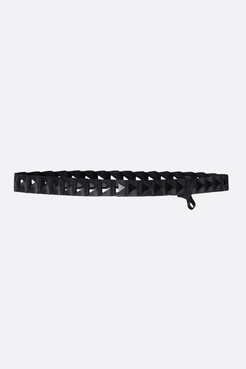 BOTTEGA VENETA: cut-out detailed smooth leather belt Color Black_1