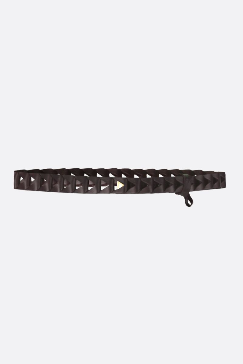 BOTTEGA VENETA: cut-out detailed smooth leather belt Color Brown_1