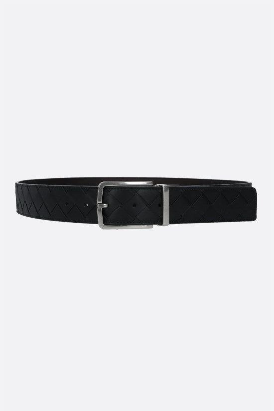 BOTTEGA VENETA: reversible Intrecciato VN and smooth leather belt Color Black_1