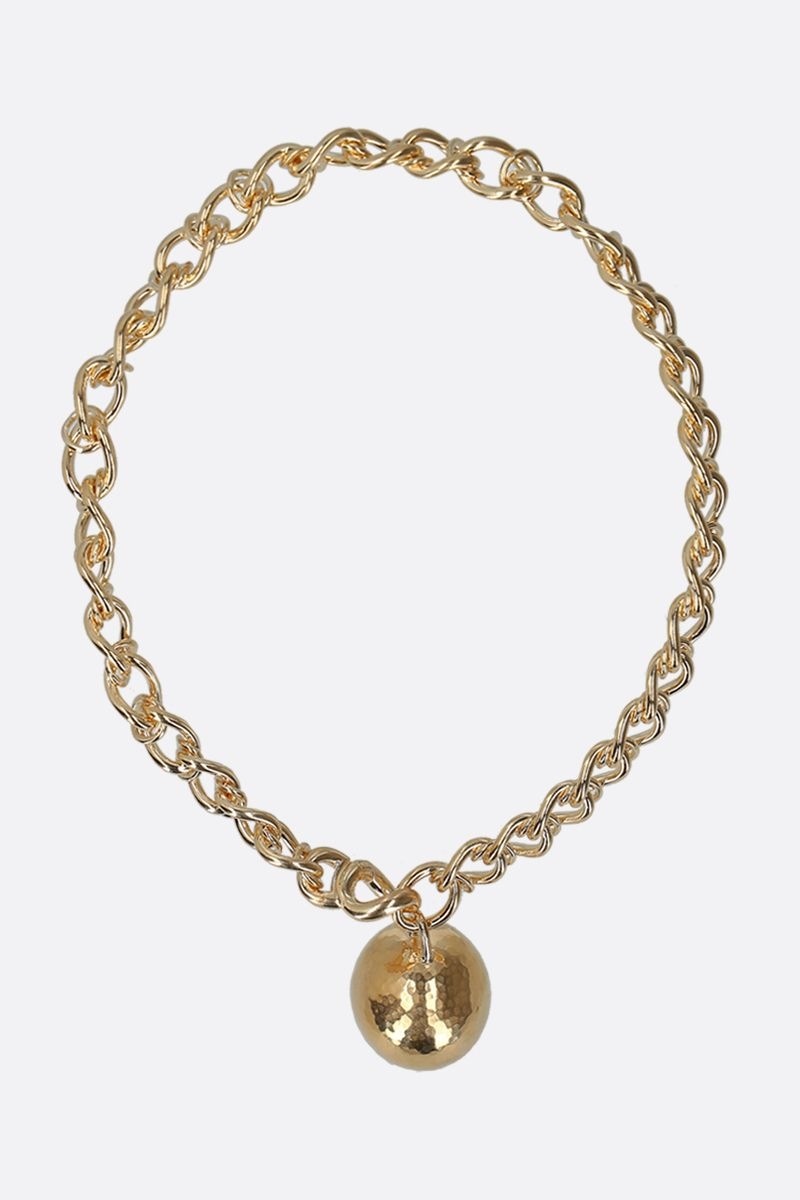 BOTTEGA VENETA: sphere-embellished sterling silver necklace Color Yellow_1