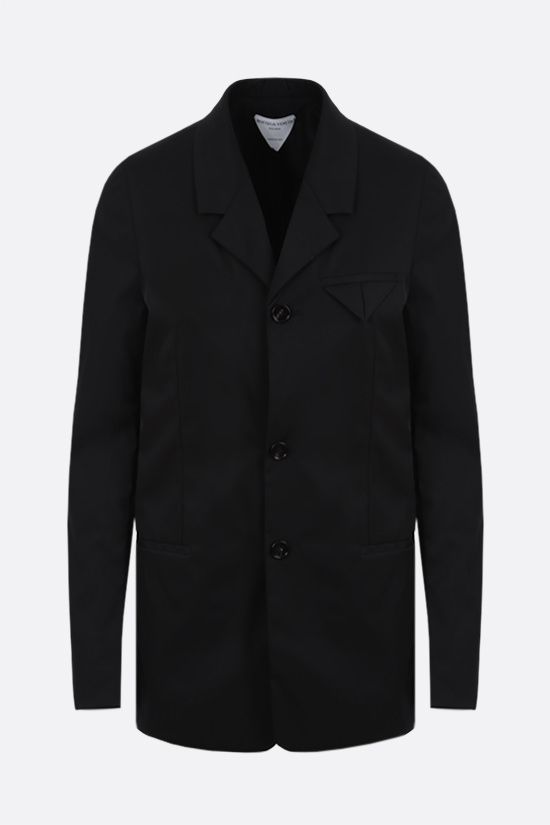 BOTTEGA VENETA: single-breasted stretch nylon jacket Color Black_1