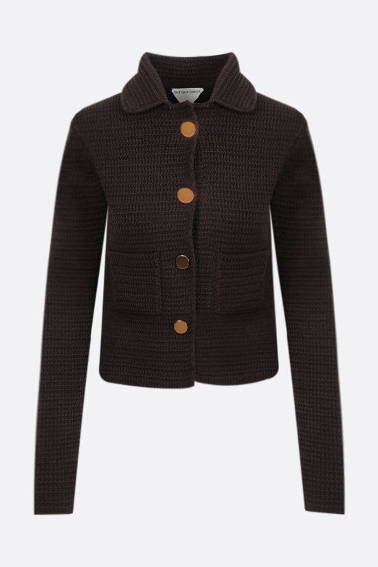 BOTTEGA VENETA: single-breasted compact cotton mesh jacket Color Brown_1