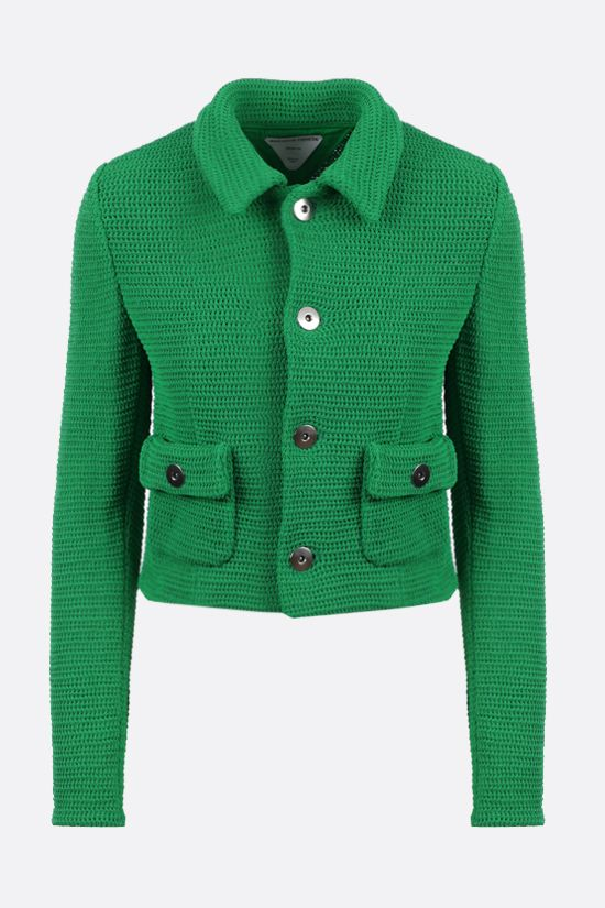 BOTTEGA VENETA: single-breasted compact cotton mesh jacket Color Green_1
