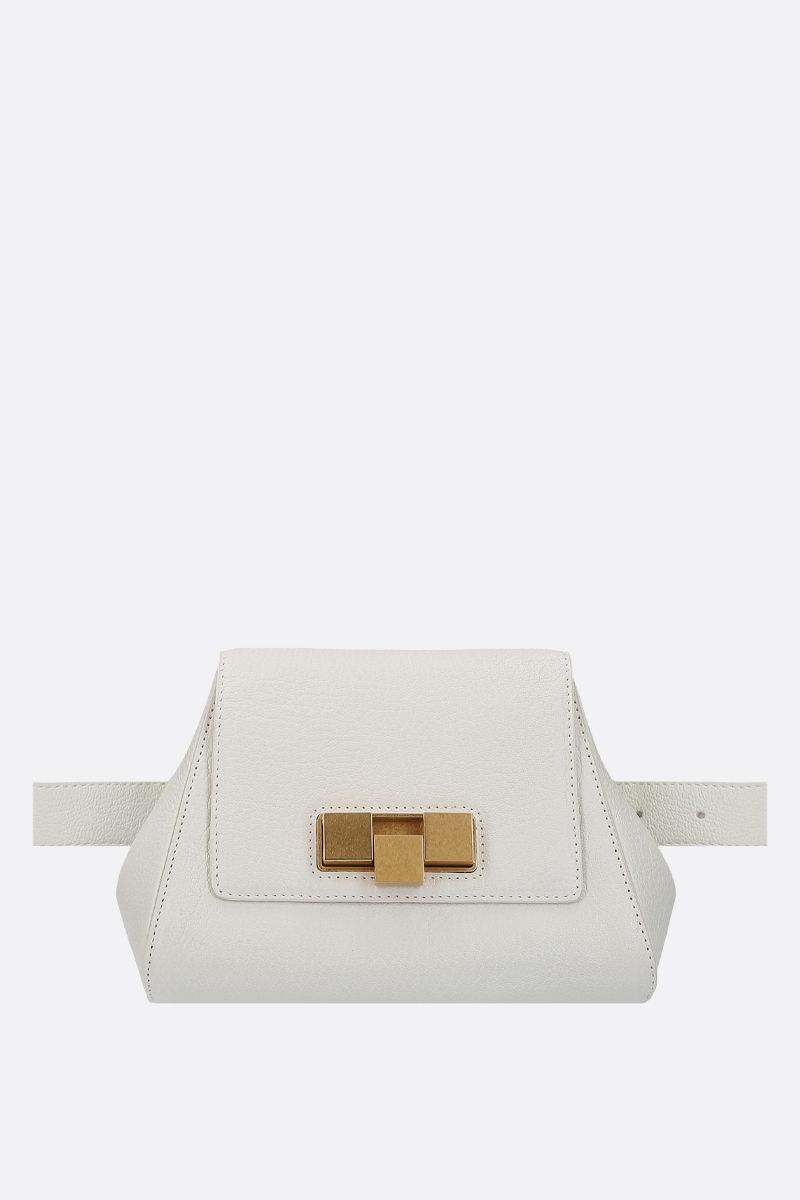 BOTTEGA VENETA: textured leather belt bag Color White_1