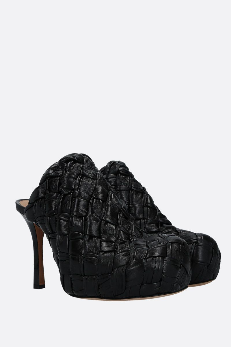 BOTTEGA VENETA: BV Bold mules in Intrecciato shiny nappa Color Black_2