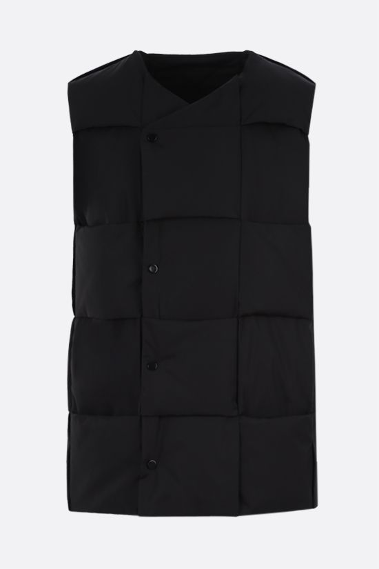 BOTTEGA VENETA: Intrecciato-motif technical cotton sleeveless down jacket Color Black_1