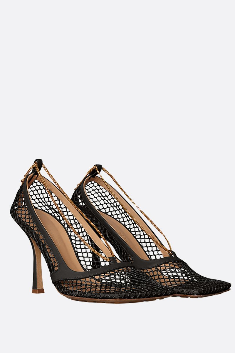 BOTTEGA VENETA: mesh and smooth leather pumps Color Black_2