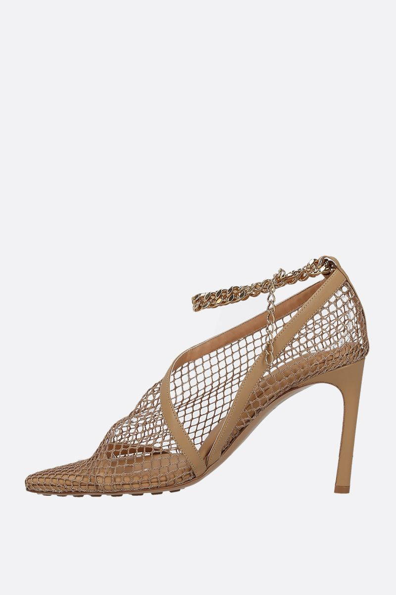 BOTTEGA VENETA: chain-detailed nappa and mesh sandals Color Neutral_2