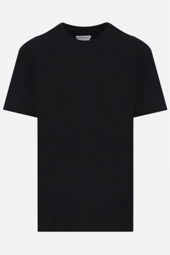BOTTEGA VENETA: logo embroidered cotton t-shirt Color Black_1