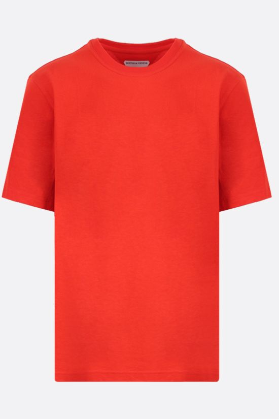BOTTEGA VENETA: logo embroidered cotton t-shirt Color Red_1